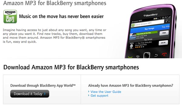 Amazon MP3 Now Available For BlackBerry Devices